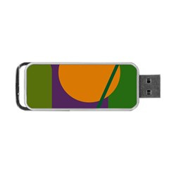 Green and orange geometric design Portable USB Flash (Two Sides)