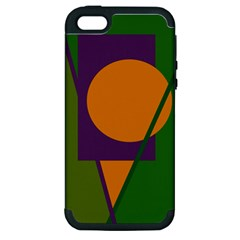 Green and orange geometric design Apple iPhone 5 Hardshell Case (PC+Silicone)