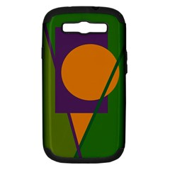 Green and orange geometric design Samsung Galaxy S III Hardshell Case (PC+Silicone)