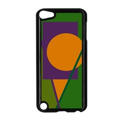 Green and orange geometric design Apple iPod Touch 5 Case (Black)