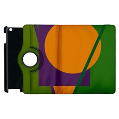 Green and orange geometric design Apple iPad 2 Flip 360 Case