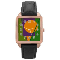Green and orange geometric design Rose Gold Leather Watch
