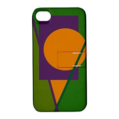 Green and orange geometric design Apple iPhone 4/4S Hardshell Case with Stand