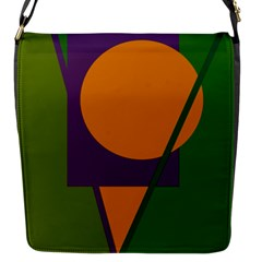 Green and orange geometric design Flap Messenger Bag (S)