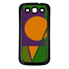 Green and orange geometric design Samsung Galaxy S3 Back Case (Black)
