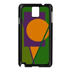 Green and orange geometric design Samsung Galaxy Note 3 N9005 Case (Black)