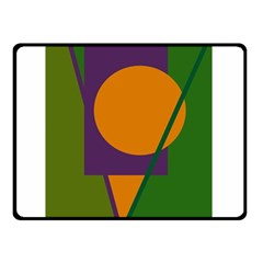 Green and orange geometric design Double Sided Fleece Blanket (Small)