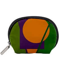 Green and orange geometric design Accessory Pouches (Small)