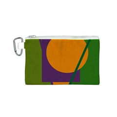 Green and orange geometric design Canvas Cosmetic Bag (S)