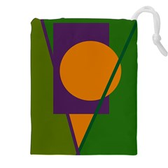 Green and orange geometric design Drawstring Pouches (XXL)