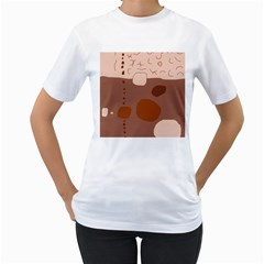 Brown abstract design Women s T-Shirt (White) (Two Sided)