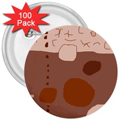 Brown abstract design 3  Buttons (100 pack)