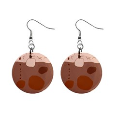 Brown abstract design Mini Button Earrings