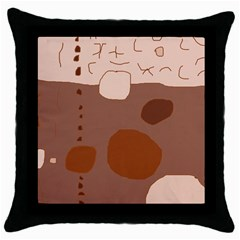 Brown abstract design Throw Pillow Case (Black)