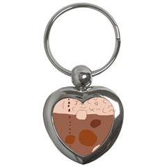 Brown abstract design Key Chains (Heart)