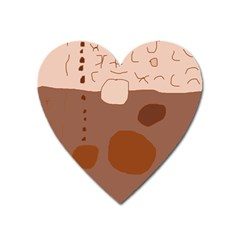 Brown abstract design Heart Magnet