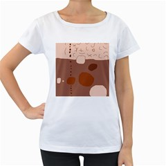 Brown abstract design Women s Loose-Fit T-Shirt (White)
