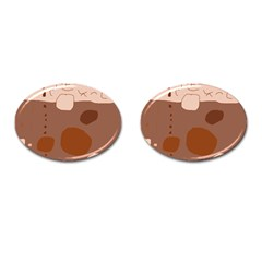 Brown abstract design Cufflinks (Oval)