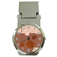 Brown abstract design Money Clip Watches
