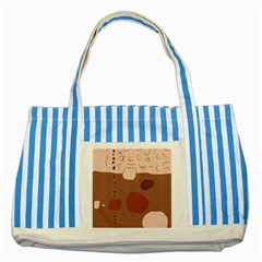 Brown abstract design Striped Blue Tote Bag