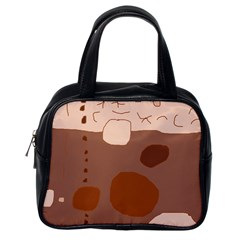 Brown abstract design Classic Handbags (One Side)