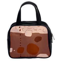 Brown abstract design Classic Handbags (2 Sides)