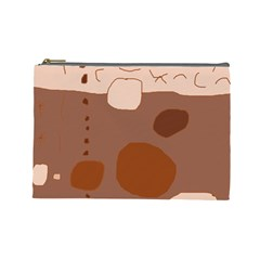 Brown abstract design Cosmetic Bag (Large)