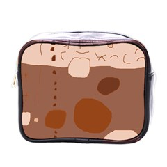 Brown abstract design Mini Toiletries Bags