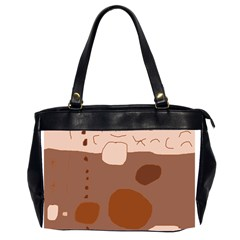 Brown abstract design Office Handbags (2 Sides)