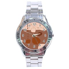Brown abstract design Stainless Steel Analogue Watch
