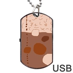 Brown abstract design Dog Tag USB Flash (Two Sides)