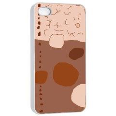 Brown abstract design Apple iPhone 4/4s Seamless Case (White)
