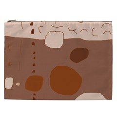 Brown abstract design Cosmetic Bag (XXL)