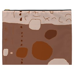 Brown abstract design Cosmetic Bag (XXXL)