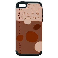 Brown abstract design Apple iPhone 5 Hardshell Case (PC+Silicone)