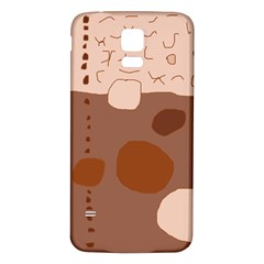 Brown abstract design Samsung Galaxy S5 Back Case (White)