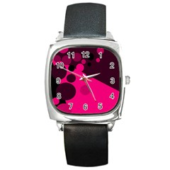 Pink dots Square Metal Watch