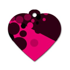 Pink dots Dog Tag Heart (One Side)