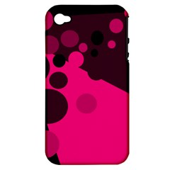 Pink dots Apple iPhone 4/4S Hardshell Case (PC+Silicone)