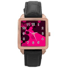 Pink dots Rose Gold Leather Watch
