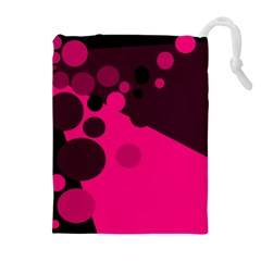 Pink Dots Drawstring Pouches (extra Large)