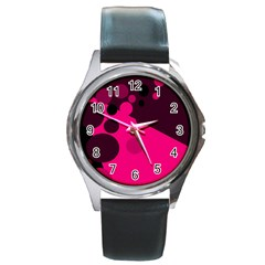 Pink dots Round Metal Watch