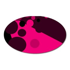 Pink dots Oval Magnet
