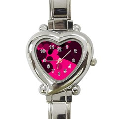 Pink dots Heart Italian Charm Watch