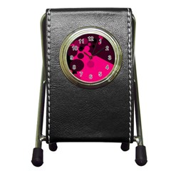 Pink dots Pen Holder Desk Clocks