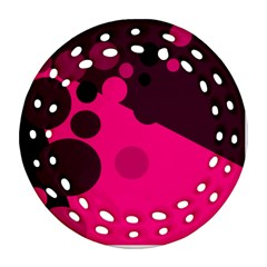 Pink dots Round Filigree Ornament (2Side)