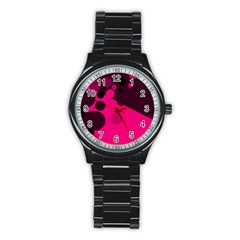 Pink dots Stainless Steel Round Watch