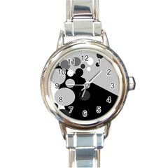 Gray decorative dots Round Italian Charm Watch