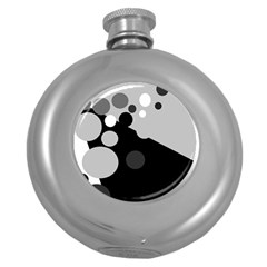 Gray decorative dots Round Hip Flask (5 oz)