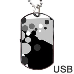 Gray decorative dots Dog Tag USB Flash (One Side)